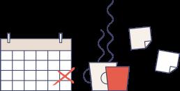 Disegno di calendario, tazze e post-it